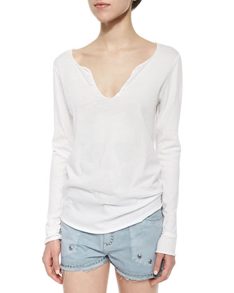 Beaded Long-Sleeve Slub Tee & Stud-Trim Frayed Shorts