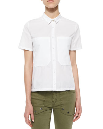 Short-Sleeve Woven Blouse & Straight-Leg Cotton-Stretch Trousers