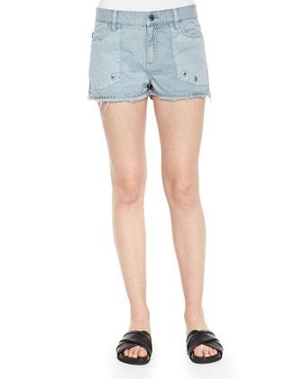 Beaded Long-Sleeve Slub Tee & Stud-Trim Frayed Shorts