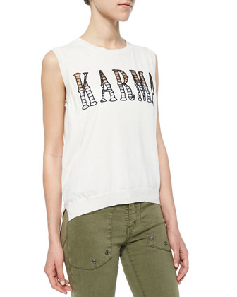 Karma Cutout Cotton Sleeveless Top
