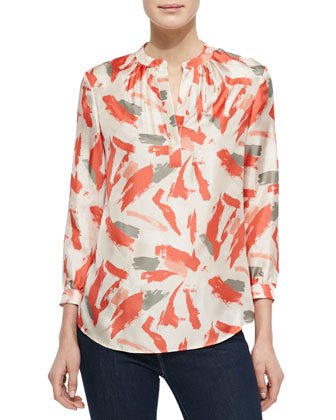 Sharla 3/4-Sleeve Silk Print Blouse