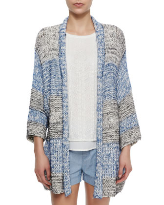 Long Textured Open Knit Cardigan, Lace-Overlay Chiffon Tank & Belted ...