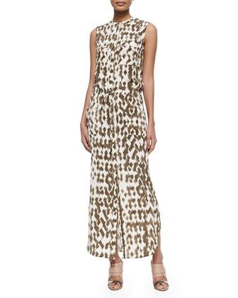 Ikat-Print Cargo Maxi Dress