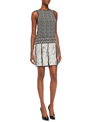 Printed/Herringbone Dress