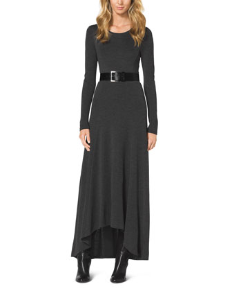 Belted Slub Elliptical Maxi Dress