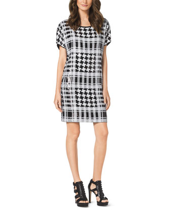 Sequined Houndstooth Plaid Dress