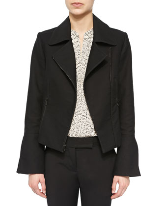 Slit-Sleeve Moto Jacket, Black