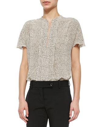 Slit-Sleeve Moto Jacket, Pleated-Front Dot-Print Blouse & Tara Tech-Cotton ...