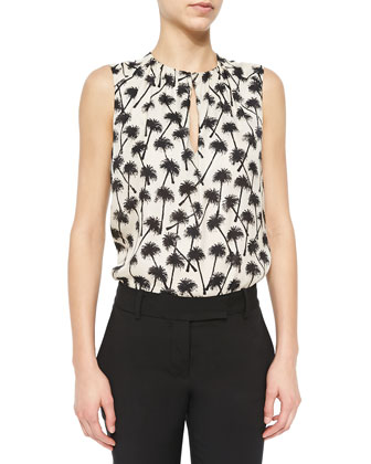 Sleeveless Keyhole Palm Tree-Print Blouse, Sand/Black Palm