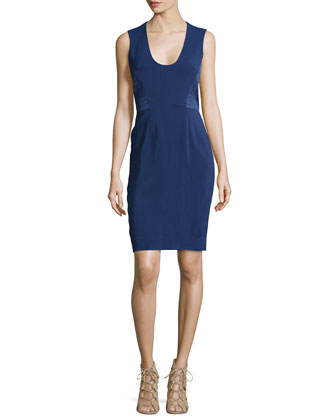Sleeveless Side-Panel Fitted Dress