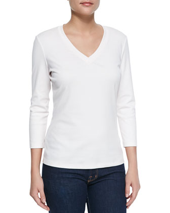3/4-Sleeve V-Neck Tee, Dawn