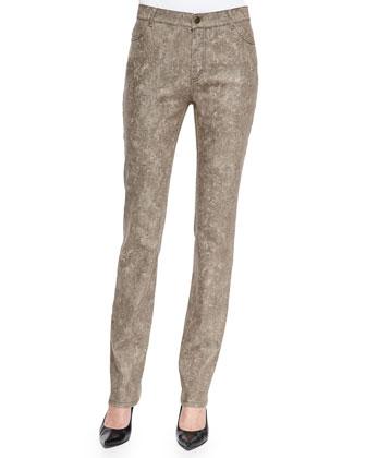 Curvy Slim-Leg Jeans, Hickory