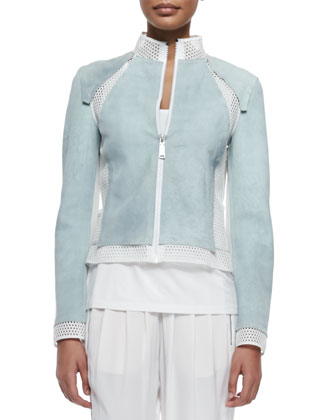 Suella Suede Jacket W/ Mesh Insets, Neely Silk Knit Tank & Gemma ...