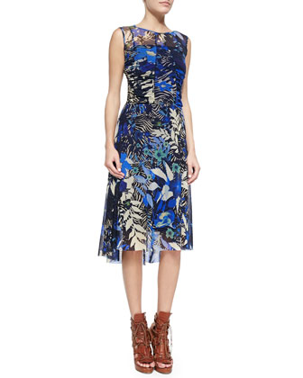 Side-Ruched Jungle-Print Dress