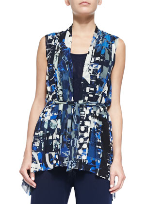 Abstract Printed Cardigan-Style Vest & Palazzo Pants with Fold-Over Waistband