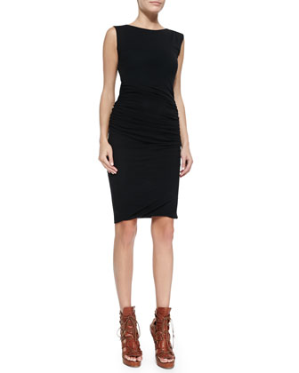 Ruched Sleeveless Zip-Shoulder Sheath Dress