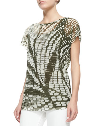 Cap-Sleeve Digital-Print Top