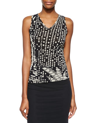 Digital-Print V Neck Tank Top