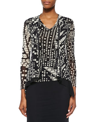 Digital-Print Cardigan with Peplum