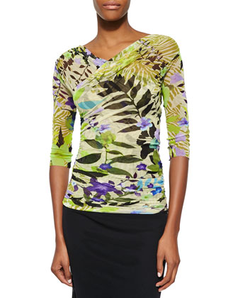 Jungle Printed Ruched Top
