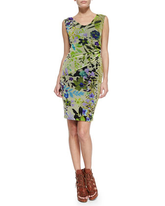 Ruched Sleeveless Jungle-Print Dress