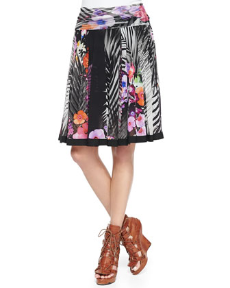 Floral and Fern Printed Pleated Skirt