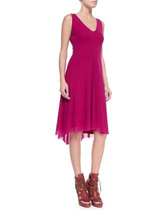 Easy High-Low V-Neck Dress