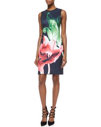 Silent Flower Printed Sleeveless Dress