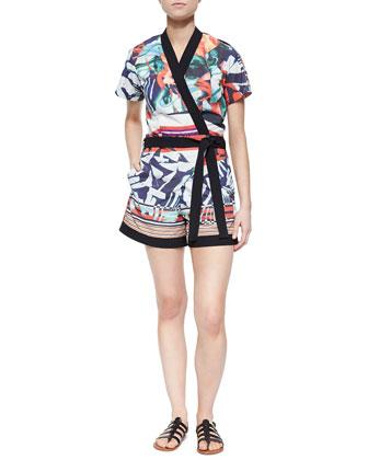 Printed Faux-Wrap Short Jumpsuit
