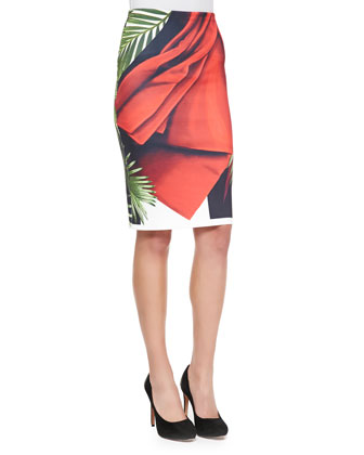 Saffron Sash Printed Knit Skirt