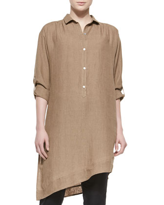 Long-Sleeve Linen Asymmetric Tunic & Skinny Ankle Linen Pants