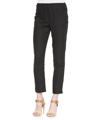 Skinny Ankle Linen Pants, Black