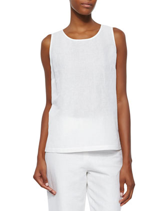 Sleeveless Linen-Blend Shell