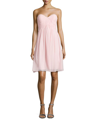 Strapless Ruched-Bodice Cocktail Dress, Blush