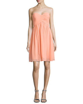 Strapless Ruched-Bodice Cocktail Dress, Peach Fuzz