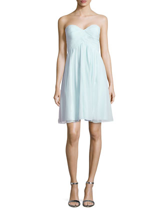 Strapless Ruched-Bodice Cocktail Dress, Beach Glass