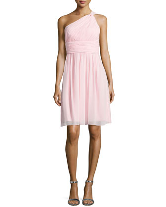 One-Shoulder Chiffon Cocktail Dress, Blush