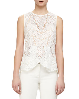 Sheer Lace Peplum Top & Full-Length Flared Denim Pants