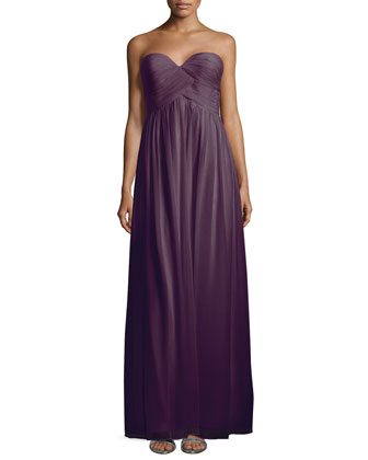 Laura Strapless Ruched-Bodice Gown, Amethyst