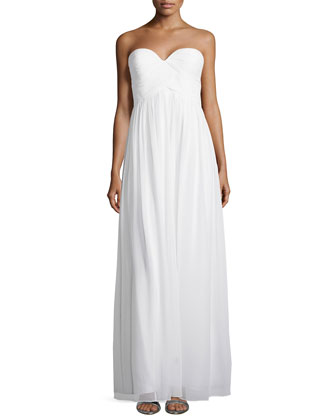 Strapless Ruched-Bodice Gown, White Lily