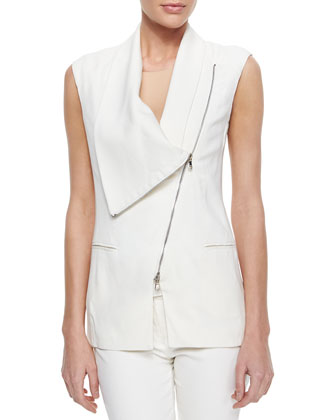 Asymmetric Draped Zip Vest & Skinny Zip-Pocket Cropped Jeans