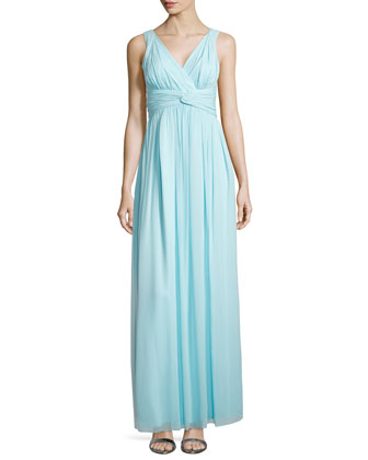 Sleeveless Empire-Waist Gown, Gulf Stream