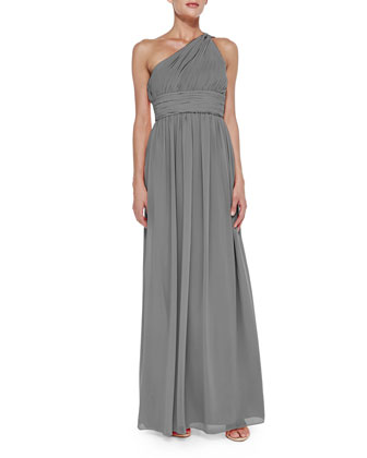 One-Shoulder Chiffon Gown, Sterling