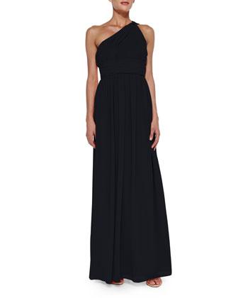 One-Shoulder Chiffon Gown, Midnight