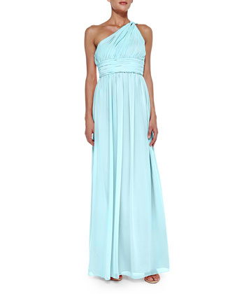 One-Shoulder Chiffon Gown, Gulf Stream