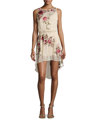 Floral-Embroidered High-Low Silk Dress
