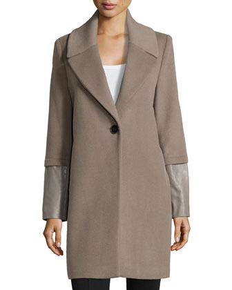 Greece Wool One-Button Coat W/ Leather Cuffs