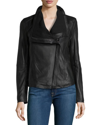 Andreas Leather Moto Jacket, Black