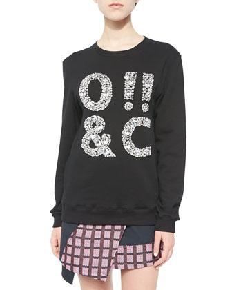 ASCII Jeweled Crewneck Sweatshirt, Black