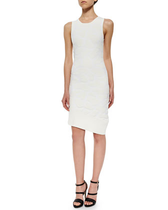 3D Pools Embossed Tank Dress, White